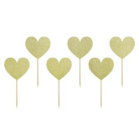 PartyDeco Cupcake Toppers Sweet Love Hart Goud -6st-