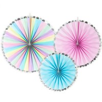 PartyDeco Decorative Rosettes Unicorn Mix -3st-