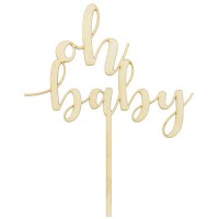 PartyDeco Houten Taarttopper Oh Baby