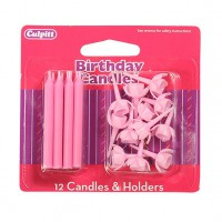 Candles & Holders Pink -12st-