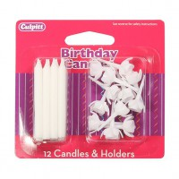 Candles & Holders White -12st-