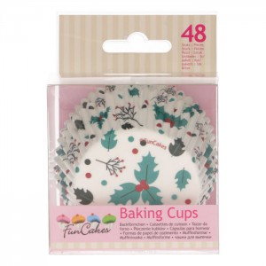 FunCakes Baking Cups Holly Leaf -48st-
