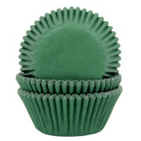 House of Marie Baking Cups Donkergroen -50st-