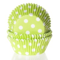 House of Marie Baking Cups Stippen Lime Groen -50st-