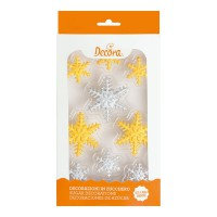Decora Sugar Decoration Gold & Silver Snowflakes -9st-