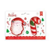 Decora Cookie Cutter Set Santa & Candy Cane -2st-