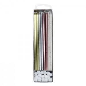 PME Extra Tall Candles Mixed 18cm -16st-