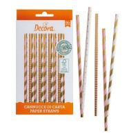 Decora Paper Straws Rose & Gold -80st-