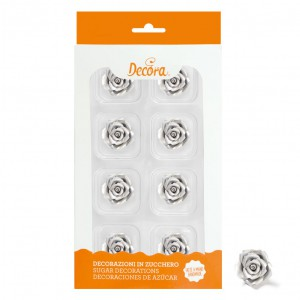 Decora Sugar Flowers Roses Small Silver -8st-