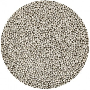 FunCakes Parels Metallic Zilver 2mm -80gr-